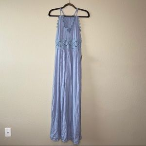 NWT LULU'S Blue Maxi Lace Cut Out Dress Small